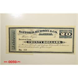 Safford, Hudson & C0., ca.1880-1890 Remainder Obsolete Scrip Note With Solid Serial Number 333.