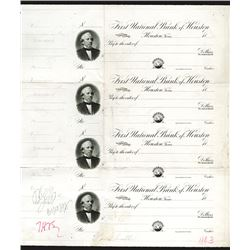 First National Bank of Houston, 1890's Approval Proof Sheet of 4 Drafts.