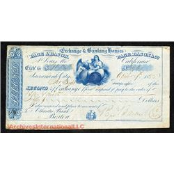 Page, Bacon and Co., 1855 Issued Exchange Draft.