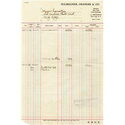 Sulzbacher, Granger and Co., 1936 Stock Balance Sheet For Meyer Lansky, Famous Mafia Figure.