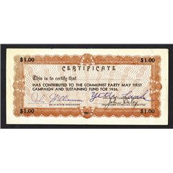 Communist Party Contribution certificate.