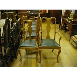 Enjoyable A Set Of Six Queen Anne Style Oak Dining Chairs With Solid Dailytribune Chair Design For Home Dailytribuneorg