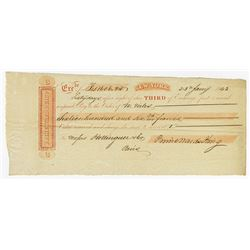 Exchange Check from Prime, Ward & King, 1843