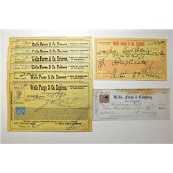Wells Fargo Check 1874 and Freight Receipt Assortment, ca.1899-1905.