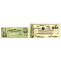 Post Office Department & Army Treasury, 1853-1863, Pair of Checks