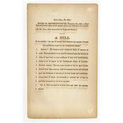 Confederate States House of Representatives Bill dated 1864 Relating to Confederate Bonds.
