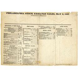 Philadelphia Stock Exchange Sale and Quotations for 1867.
