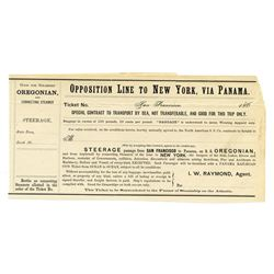 Opposition Line to New York, via Panama, ca.1860-1870 Unissued Ticket