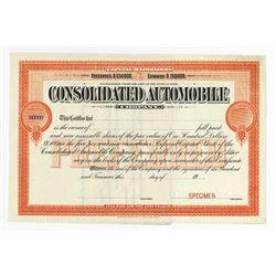 Consolidated Automobile Co., ca.1930-1940 Specimen Stock