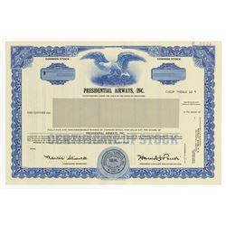 Presidential Airways, Inc., 1987 Specimen Stock
