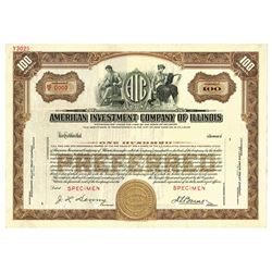 American Investment Co. of Illinois, 1925 Specimen Stock Certificate