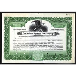 First National Bank and Trust Co. ND (ca.1920-30's) Specimen Stock Certificate.