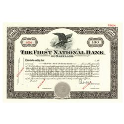 First National Bank of Maryland, ca.1950-1960 Specimen Stock Certificate