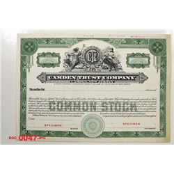 Camden Trust Co., 1954 Specimen Stock