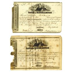 Bank of Binghamton, 1852 Pair of Issued Stock Certificates