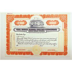 Bryn Mawr Trust Co. 19xx ca.1920-40.  Specimen Stock Certificate.