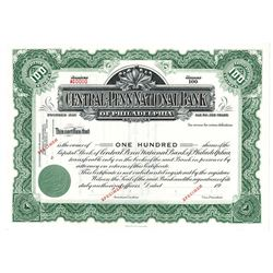 Central-Penn National Bank, ca.1930-1940 Specimen Stock Certificate