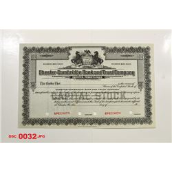 Chester-Cambridge Bank and Trust Co., ca.1950-1960 Specimen Stock