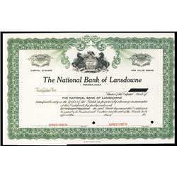 National Bank of Lansdowne.
