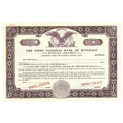 First National Bank of Hinsdale, ca.1940-1950 Specimen Stock Certificate