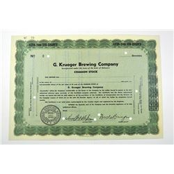 G. Krueger Brewing Co., ND ca.1930's Specimen Stock Certificate.