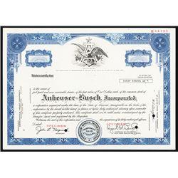 Anheuser-Busch, Inc., ca.191960's Specimen Stock Certificate