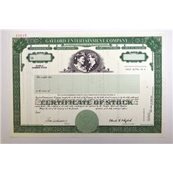 Gaylord Entertainment Co. 1992.  Specimen Stock Certificate.