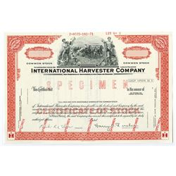 International Harvester Co., 1971 Specimen Stock Certificate
