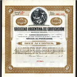 Sociedad Argentina de Edificacion, 1907 Specimen Bond