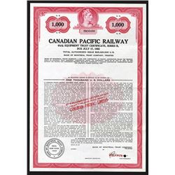 Canadian Pacific Railway, ca.1920-1930 Specimen Bond