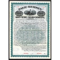 Page-Hersey Iron Tube and Lead Co. Ltd., 1906 Specimen Bond
