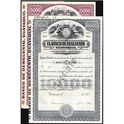 El Banco  De Descuento Guayaquil, ca.1900-1920 Specimen Bond Pair.