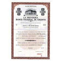 La Previsora Banco Nacional de Credito, ca.1910-1930 Specimen Bond