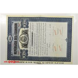Republica del Ecuador, ca.1900-1910 Specimen Bond