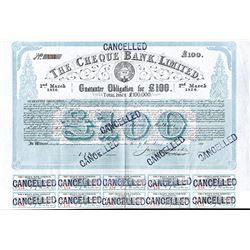 Cheque Bank Ltd. 1876 Issued Bond.