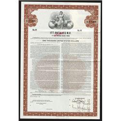 ITT Antilles N.V. 1983 Specimen Bond