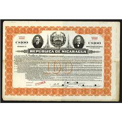 Republica de Nicaragua, ca.1900-1920 Specimen Bond