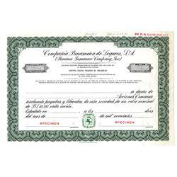 Panama Insurance Co. Inc., 1953 Specimen Stock Certificate