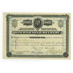 Banco Nacional Del Peru 1881 Issued Stock