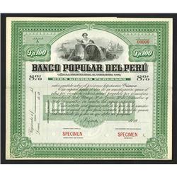 Banco Popular Del Peru, ca.1900-1910 Specimen Bond