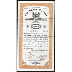 Republica Del Peru, 1944 Specimen Bond