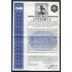 Swedish Export Credit Corp., 1982 Specimen Bond
