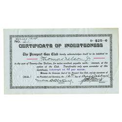 Prospect Gun Club, 1914 Specimen Bond