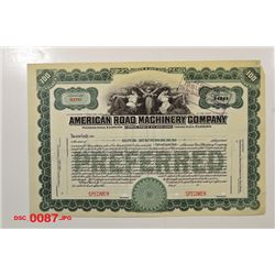 American Road Machinery Co., ca.1920-1930 Specimen Stock