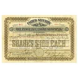 United Security Life Insurance and Trust Co., 1922 Issued Stock Certificate