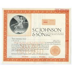 S.C. Johnson & Son, Inc., 1967 Specimen Stock Certificate
