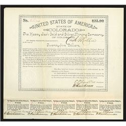 Happy Jack Gold and Silver Mining Co., 1889 Issued Bond