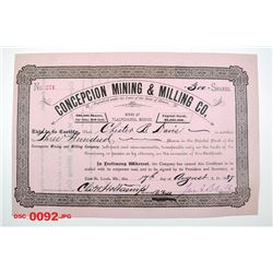 Concepcion Mining & Milling Co., 1887 Issued Stock