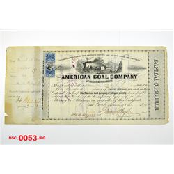 American Coal Co., 1872 Cancelled Stock