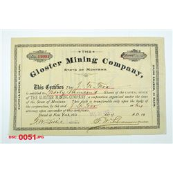 Gloster Mining Co., 1902 Issued Stock